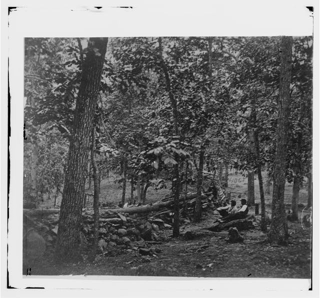Gettysburg, Pennsylvania. Federal breastworks in the wods on Culp's Hill