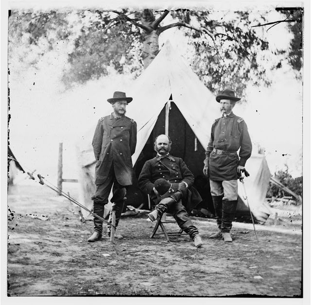 Warrenton, Virginia. Gen. Ambrose E. Burnside and staff officers
