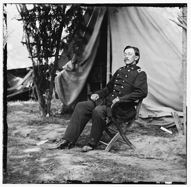 Col. George H. Chapman (3rd Indiana Cavalry) at his headquarters. Army of the Potomac