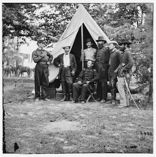 Col. George H. Chapman (3rd Indiana Cavalry) & staff at his headquarters. Army of the Potomac