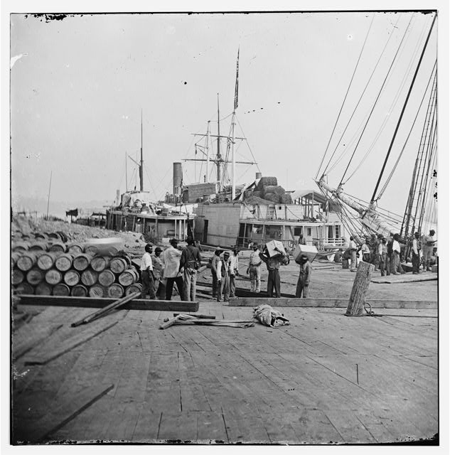 [City Point, Va. African Americans unloading vessels at landing]