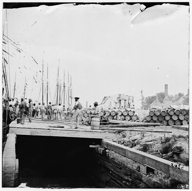 City Point, Virginia. Army stores on wharf