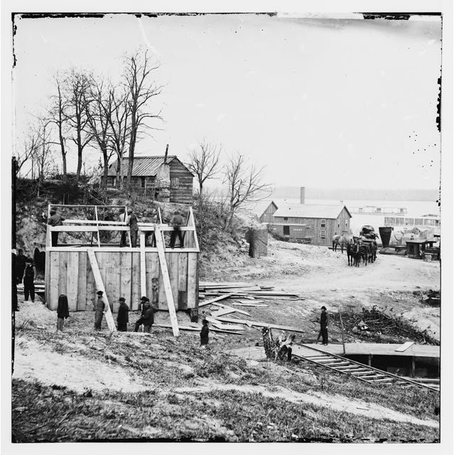 City Point, Virginia. Building storehouse and railroad depot