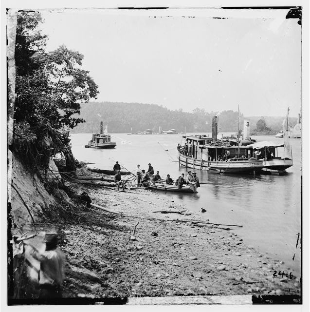 [Deep Bottom, Va., vicinity.  Transport Linda of Philadelphia and a monitor (Onondaga?) on the James]