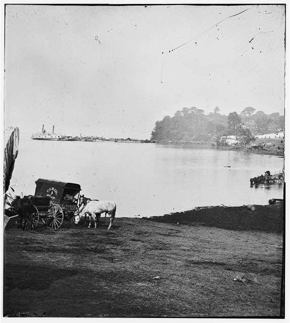 Belle Plain Landing, Virginia. Distance view of Belle Plain Landing on the James River. (U.S. Mail wagon 2nd Corps in foreground)