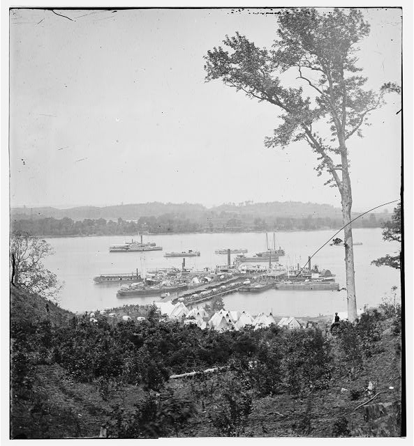 Belle Plain Landing, Virginia. View of camp and transports. (Lower landing). [Photo taken near Bull Bluff?]
