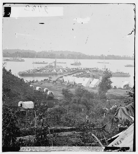 [Belle Plain, Va.  Army wagons and transports at the lower landing]