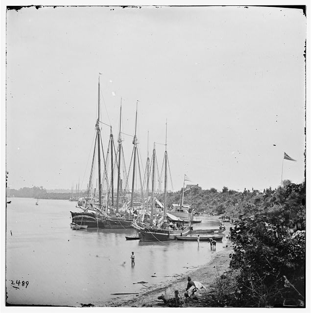 [White House Landing, Va. View down river, with supply vessels]