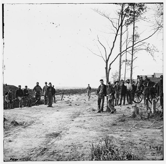 Petersburg, Virginia (vicinity). Group of 13th New York heavy Artillery. Winter camp