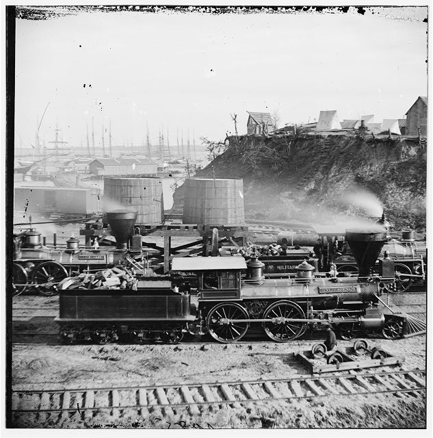 "[City Point, Va. ""Gen. J. C. Robinson"" and other locomotives of the U.S. Military Railroad]"