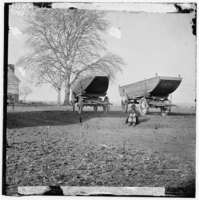 [Unknown location. Pontoon boats on wheeled carriages]