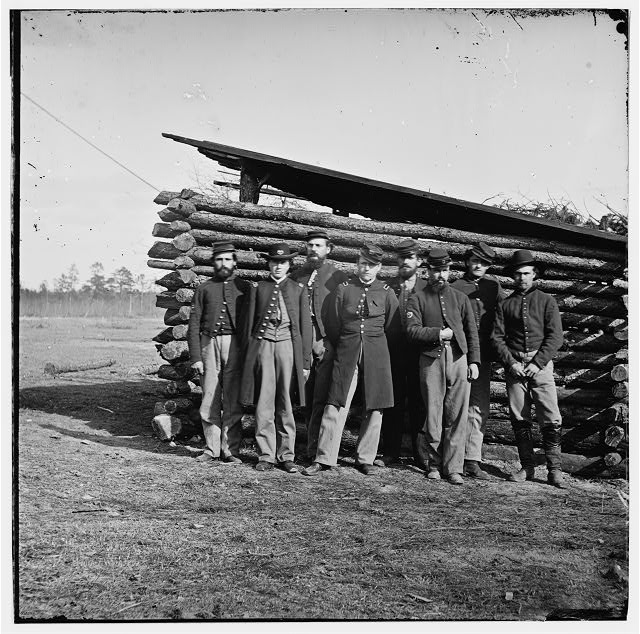 [Group of officers on The Plateau, City Point, Va.]