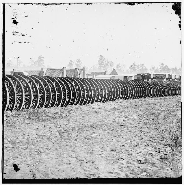 [City Point], Virginia (vicinity). Park of army wagon wheels