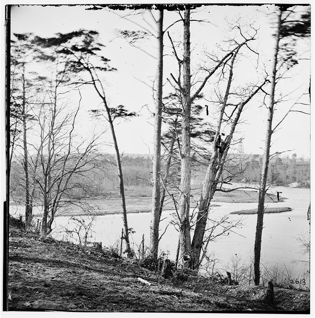 Point of Rocks, Virginia. View of Appomattox River. (Butler's signal tower in distance)