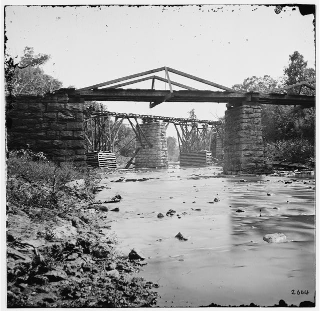 Knoxville, Tennessee (vicinity). Railroad bridge across Platt creek