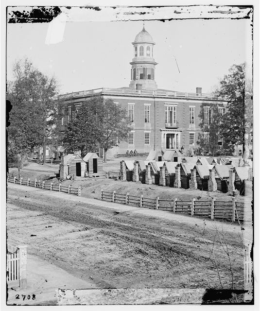 [Atlanta, Ga. City Hall; camp of 2d Massachusetts Infantry on the grounds]