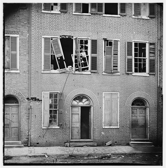 Petersburg, Virginia. Effects of shot & shell on Dunlop house on Bollingbrook Street
