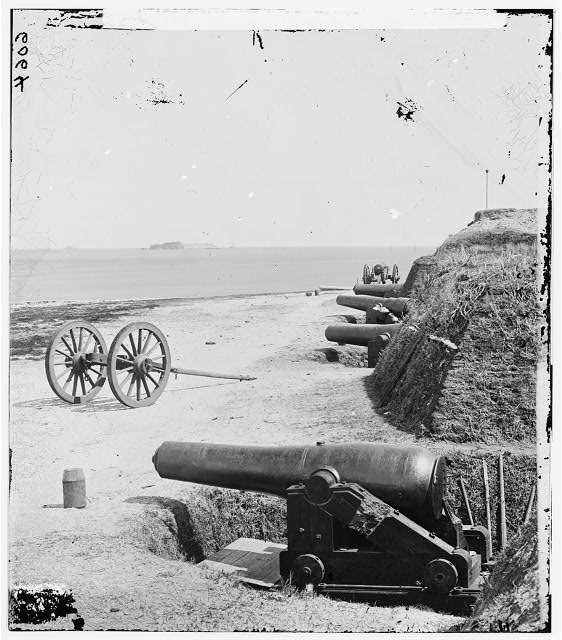 [Charleston, S.C. Battery of Confederate Fort Johnson; Fort Sumter in distance]