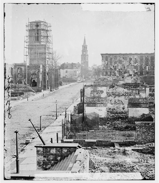[Charleston, S.C. View of Meeting Street, looking south toward the Circular Church, the Mills House, and St. Michael's Church]