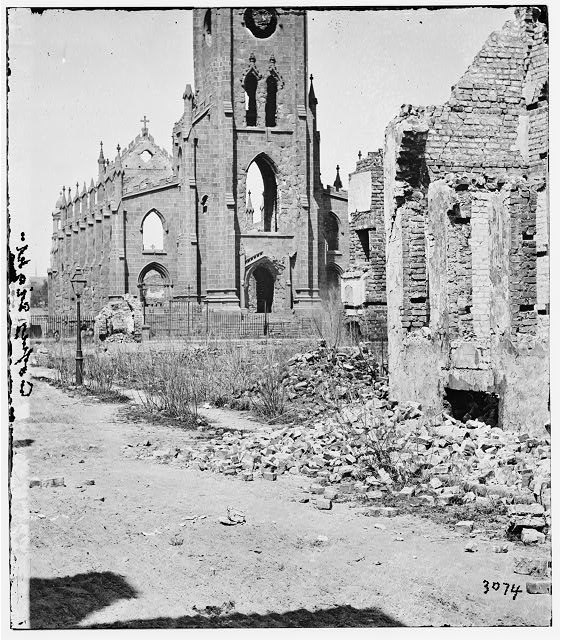 Charleston, South Carolina. Roman Catholic Cathedral of St. John and St. Finbar (Broad and Legare Streets) destroyed in the fire of December 1861. (front view)