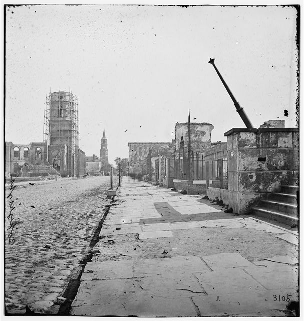 Charleston, South Carolina. Meeting Street, looking south, showing St. Michael's Church, the Mills house, ruins of the Circular Church