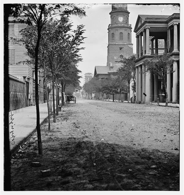 [Charleston, S.C. Meeting Street, near Broad; St. Michael's Church in middle distance]