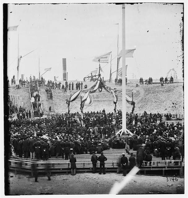 Charleston, South Carolina. Interior of Fort Sumter during the ceremony of raising the flag