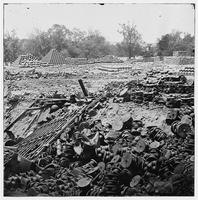 [Richmond, Va. Stacked and scattered ammunition near the State Arsenal; another view]