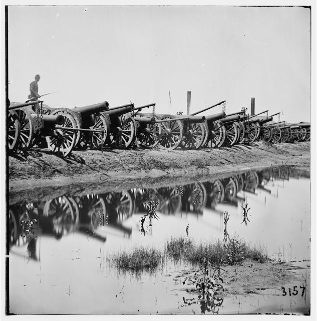 Richmond, Virginia. Captured siege guns at Rocketts