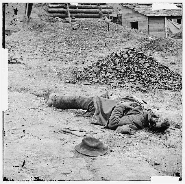 Petersburg, Virginia. Dead Confederate soldier in trenches before Petersburg