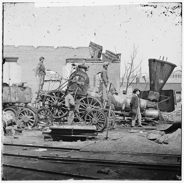 [Richmond, Va. Crippled locomotive, Richmond & Petersburg Railroad depot]