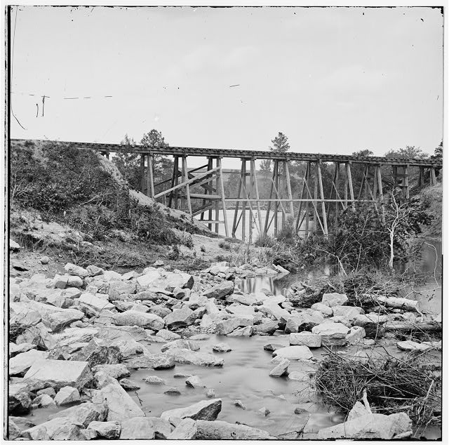 Petersburg, Virginia (vicinity). South Side Railroad trestle (west of Petersburg) across Indian Town creek