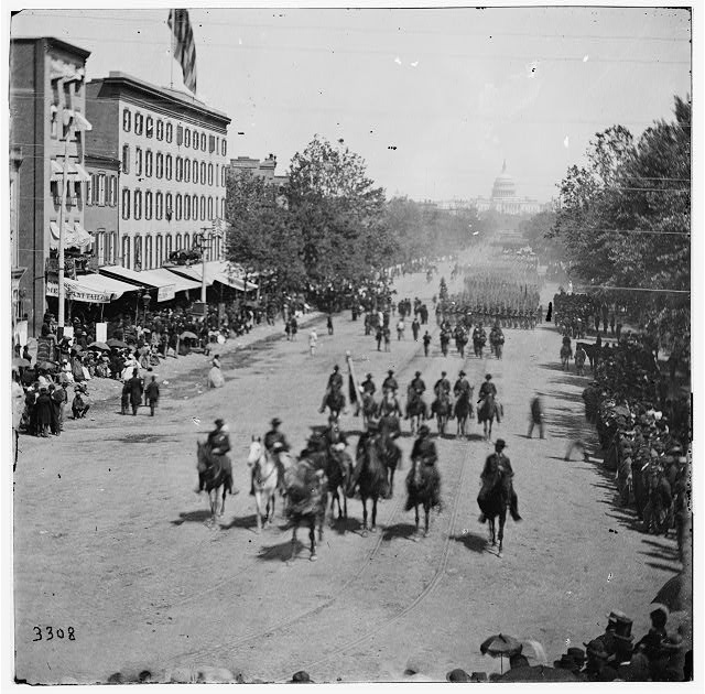 Washington, District of Columbia. The grand review of the Army. Gen. Andrew A. Humphreys, staff and units of 2nd Corps passing on Pennsylvania Avenue