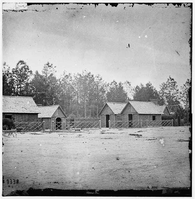 Petersburg, Virginia. Camp of 50th New York Engineers Popular Grove. Officer's quarters and church