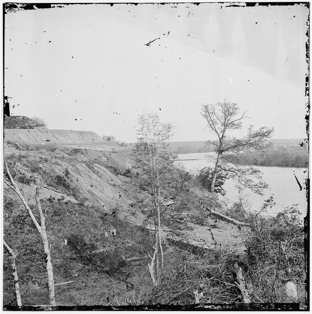 Drewry's Bluff, Virginia. Exterior view of Confederate Fort Darling and obstructions in James