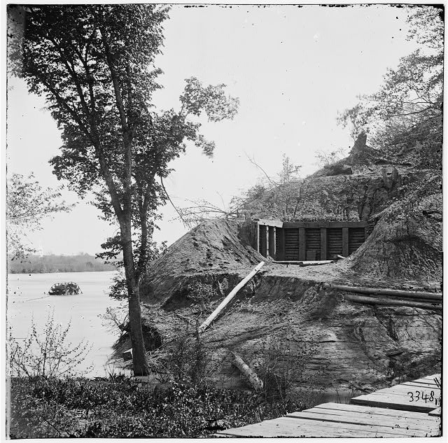 Drewry's Bluff, Virginia. Exterior of Confederate Fort Darling. (Masked battery position shown)