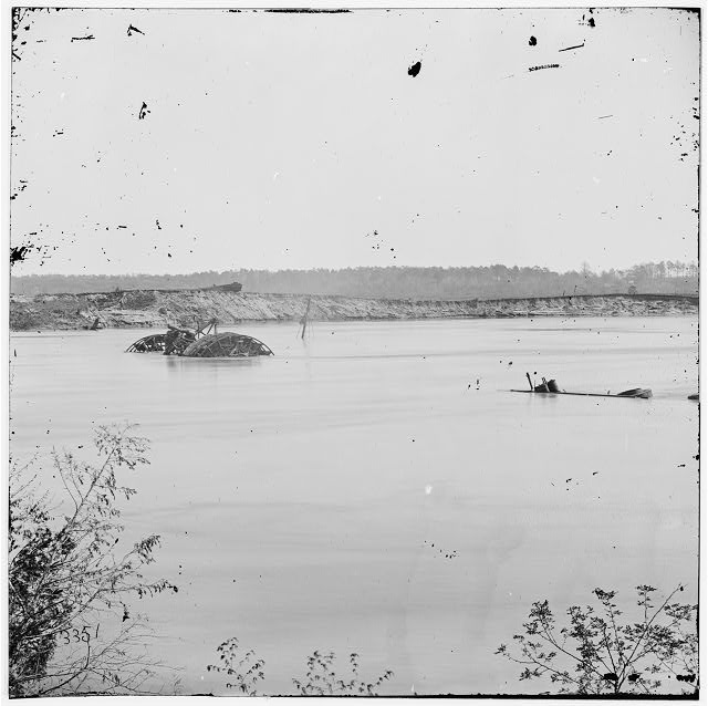 Drewry's Bluff, Virginia. Obstructions in James River opposite Fort Darling
