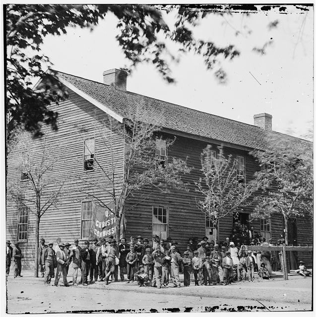 [Richmond, Va. Crowd before headquarters of the U.S. Christian Commission]