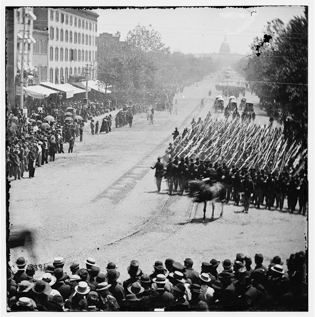 [Washington, D.C. Units of 20th Army Corps, Army of Georgia, passing on Pennsylvania Avenue near the Treasury]