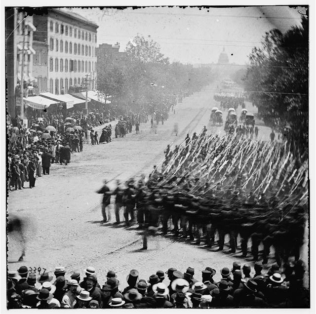 Washington, District of Columbia. The Grand Review of the Army. Units of 20th Army Corps, Army of Georgia, passing on Pennsylvania Avenue near the Treasury