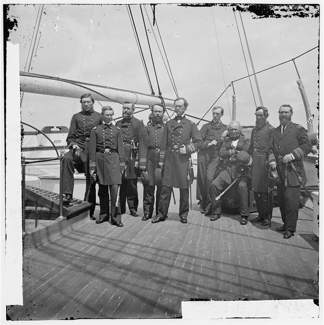 [Charleston Harbor, S.C. Rear Admiral John A. Dahlgren (fifth from left) and staff aboard U.S.S. Pawnee]