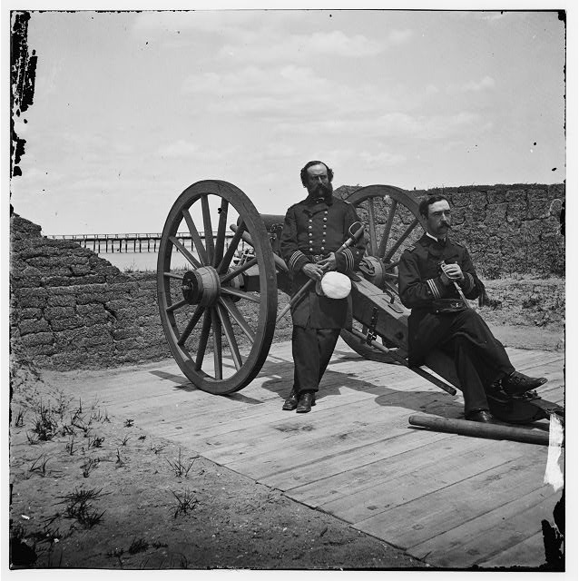 [Sullivan's Island, S.C. Lt. Comdr. Edward Barrett and Lt. Cornelius N. Schoonmaker of the U.S. monitor Catskill at Battery Bee, Sullivan's Island, Charleston harbor]