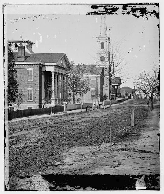 Atlanta, Georgia. Street in Atlanta (House next to church used as Sherman's headquarters