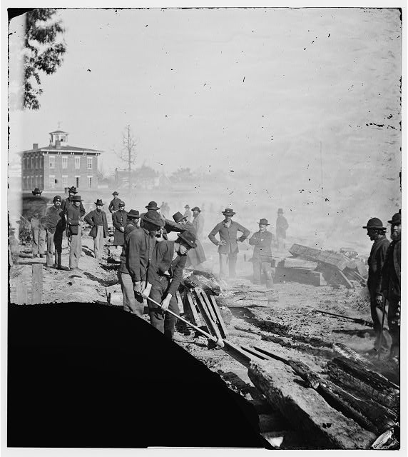 Atlanta, Georgia. Sherman's men destroying railroad