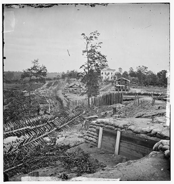 Atlanta, Georgia. Confederate fortifications with Potter house in the distance