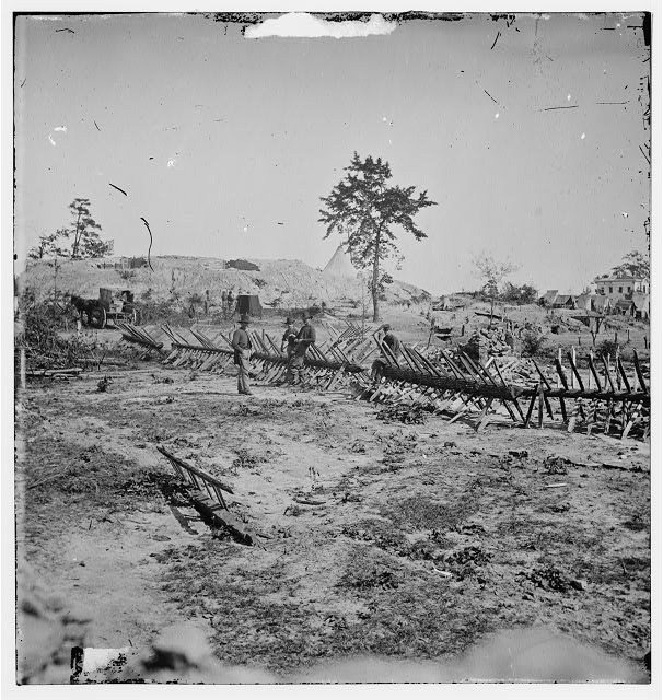 Atlanta, Georgia. Confederate fortifications (Shown is George N. Barnard, photographer and his dark room)