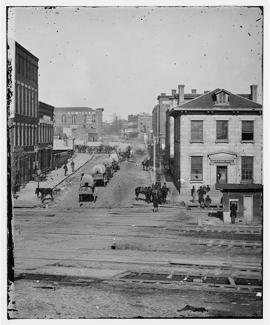 [Atlanta, Ga. Northward view across the tracks on Whitehall Street, with wagon train]