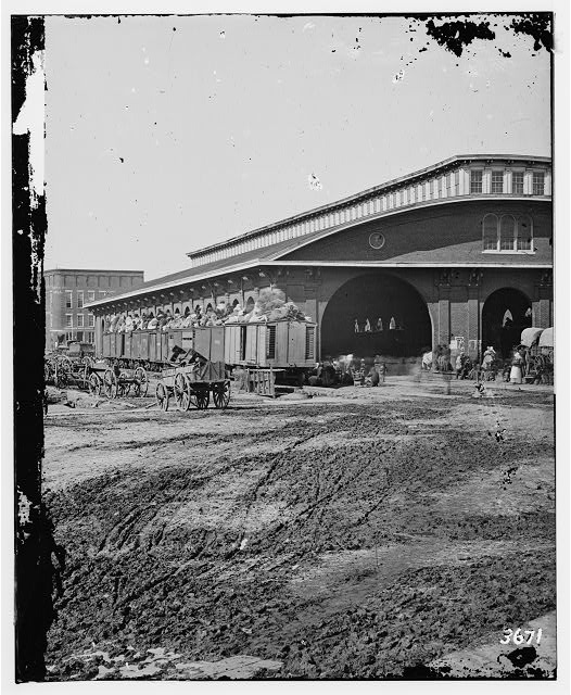 [Atlanta, Ga. Boxcars with refugees at railroad depot]