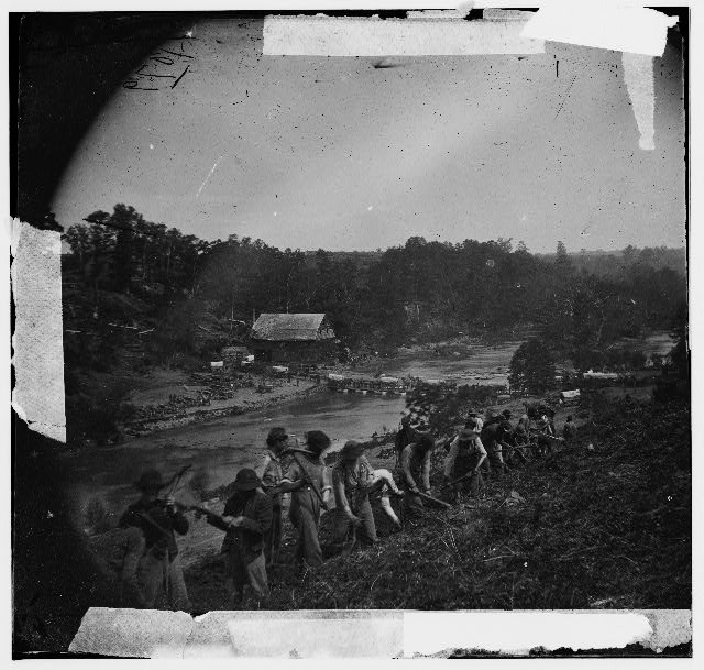 Jericho Mills, Virginia. Party of the 50th New York Engineers building a road on the south bank of the North Anna River