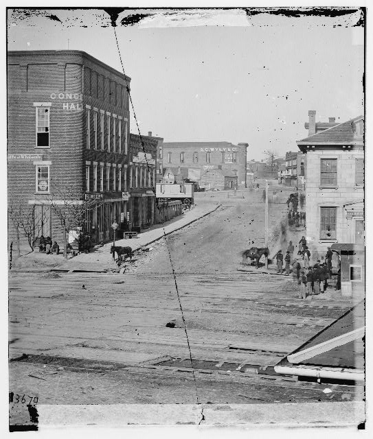 Atlanta, Georgia. Northward view across the tracks on Whitehall Street. Concert hall on left
